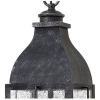Hinkley 2042GS Bingham 3 Light 8 inch Greystone Outdoor Hanging Light, Clear Seedy Glass alternative photo thumbnail