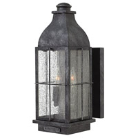 Hinkley 2044GS Bingham 2 Light 16 inch Greystone Outdoor Wall Mount in Candelabra, Clear Seedy Glass