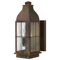 Hinkley 2044SN Bingham 2 Light 16 inch Sienna Outdoor Wall Mount in Candelabra, Clear Seedy Glass
