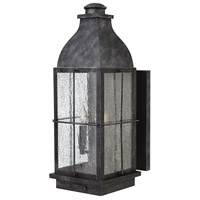 Hinkley 2045GS Bingham 3 Light 21 inch Greystone Outdoor Wall Mount in Candelabra, Clear Seedy Glass