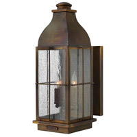 Hinkley 2045SN Bingham 3 Light 21 inch Sienna Outdoor Wall Mount in Candelabra, Clear Seedy Glass