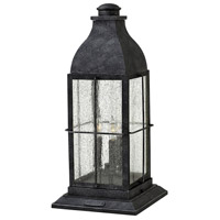 Bingham 3 Light 21 inch Greystone Outdoor Pier Mount in Candelabra, Clear Seedy Glass