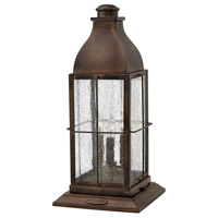 Bingham 3 Light 21 inch Sienna Outdoor Pier Mount in Candelabra, Clear Seedy Glass