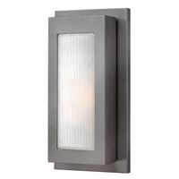 Hinkley 2050HE-GU24 Titan 1 Light 14 inch Hematite Outdoor Wall in GU24, Etched Glass