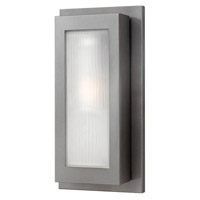 Titan 1 Light 18 inch Hematite Outdoor Wall in GU24, Etched Glass