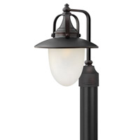 Hinkley 2081SB Pembrook 1 Light 18 inch Spanish Bronze Post Lantern in Incandescent, Etched Opal Glass, Post Sold Separately