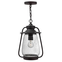 Hinkley 2092SB-LED Calistoga 1 Light 10 inch Spanish Bronze Outdoor Hanging Lantern in LED, Clear Seedy Glass