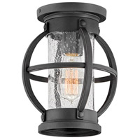 Hinkley 21003MB Coastal Elements Chatham 1 Light 8 inch Museum Black Outdoor Flush Mount