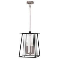 Walker 3 Light 12 inch Black Outdoor Hanging Light in Candelabra