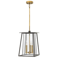 Hinkley 2102KZ Walker 3 Light 12 inch Buckeye Bronze Outdoor Hanging Light in Candelabra, Clear Glass