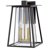 Hinkley 2104KZ Walker 2 Light 15 inch Buckeye Bronze Outdoor Wall Mount, Clear Glass