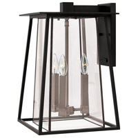 Walker 3 Light 18 inch Black Outdoor Wall Mount in Candelabra