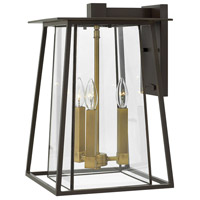 Hinkley 2105KZ Walker 3 Light 18 inch Buckeye Bronze Outdoor Wall Mount in Candelabra, Clear Glass