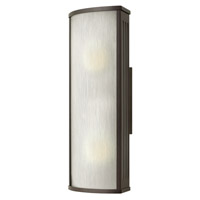 Hinkley 2114BZ-GU24 District 1 Light 18 inch Bronze Outdoor Wall in GU24, Rain Glass
