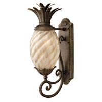 Plantation 1 Light 22 inch Pearl Bronze Outdoor Wall in Light Amber Inside-Sandblasted Optic, GU24, Optic Glass
