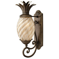 Plantation 1 Light 22 inch Pearl Bronze Outdoor Wall Lantern in Light Amber Inside-Sandblasted Optic, Incandescent