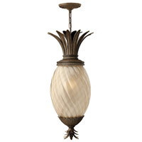 Plantation 1 Light 13 inch Pearl Bronze Outdoor Hanging in Light Amber Inside-Sandblasted Optic, GU24, Optic Glass