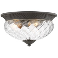 Hinkley 2123MB Plantation 3 Light 16 inch Museum Black Outdoor Flush Mount in Incandescent Clear Optic