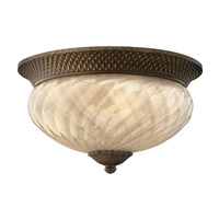 Plantation 1 Light 16 inch Pearl Bronze Outdoor Flush Mount in Light Amber Inside-Sandblasted Optic, GU24, Optic Glass