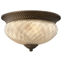 Hinkley 2123PZ Plantation 3 Light 16 inch Pearl Bronze Outdoor Flush Lantern in Incandescent