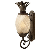 Plantation 1 Light 28 inch Pearl Bronze Outdoor Wall in Light Amber Inside-Sandblasted Optic, GU24, Optic Glass