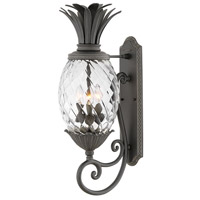 Hinkley 2124MB Plantation 3 Light 28 inch Museum Black Outdoor Wall Mount in Incandescent Clear Optic