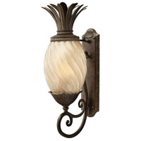 Hinkley Lighting Plantation 1 Light Outdoor Wall Lantern in Pearl Bronze with Inside Etched Amber Optic Glass 2124PZ-LED