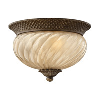 Hinkley 2128PZ-GU24 Plantation 1 Light 12 inch Pearl Bronze Outdoor Flush Mount in GU24, Optic Glass