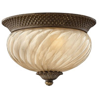 Hinkley 2128PZ Plantation 2 Light 12 inch Pearl Bronze Outdoor Flush Mount in Incandescent