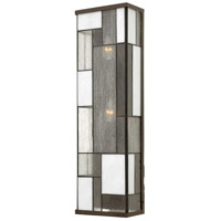 Hinkley Lighting Mondrian 3 Light Outdoor Wall Lantern in Buckeye Bronze with Art Glass Panels 2155KZ