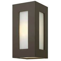 Dorian 1 Light 12 inch Bronze Outdoor Wall Mount in Incandescent, White Etched Glass