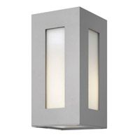 Dorian 1 Light 12 inch Titanium Outdoor Wall in GU24, White Etched Glass