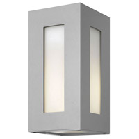Hinkley 2190TT-LED Dorian 2 Light 12 inch Titanium Outdoor Wall Lantern in LED, Clear Painted White Inside Glass