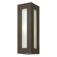 Dorian 1 Light 18 inch Bronze Outdoor Wall in GU24, White Etched Glass