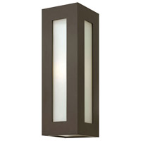 Dorian 1 Light 18 inch Bronze Outdoor Wall Mount in Incandescent, White Etched Glass