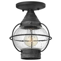 Hinkley 2203DZ Cape Cod 1 Light 7 inch Aged Zinc Outdoor Flush Mount in Incandescent, Convertible