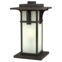 Manhattan LED 18 inch Oil Rubbed Bronze Outdoor Post Mount, Etched Seedy Glass