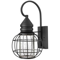 Hinkley 2254BK New Castle 1 Light 17 inch Black Outdoor Wall Mount, Seedy Glass