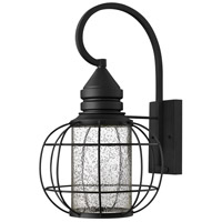 Hinkley 2255BK New Castle 1 Light 20 inch Black Outdoor Wall Mount, Seedy Glass