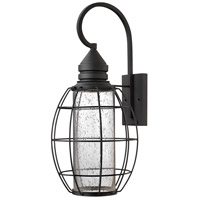 Hinkley 2258BK New Castle 1 Light 24 inch Black Outdoor Wall Mount, Seedy Glass