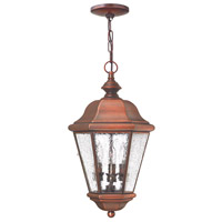 Clifton Beach 3 Light 10 inch Antique Copper Outdoor Hanging Lantern