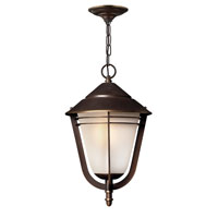 Hinkley 2282MT-GU24 Aurora 1 Light 11 inch Metro Bronze Outdoor Hanging, Amber Etched Seedy Glass