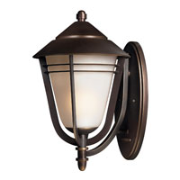 Hinkley 2285MT-GU24 Aurora 1 Light 18 inch Metro Bronze Outdoor Wall in GU24, Amber Etched Seedy Glass