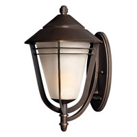 Hinkley 2289MT-GU24 Aurora 1 Light 22 inch Metro Bronze Outdoor Wall, Amber Etched Seedy Glass