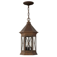 Hinkley 2292SN Brighton 3 Light 9 inch Sienna Outdoor Hanging Lantern in Incandescent photo thumbnail