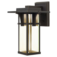 Manhattan 1 Light 12 inch Oil Rubbed Bronze Outdoor Wall Lantern in LED, Clear Beveled Glass