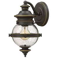 Hinkley 2340OZ Saybrook 1 Light 12 inch Oil Rubbed Bronze Outdoor Wall Mount, Clear Seedy Glass