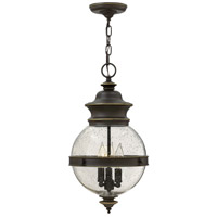 Hinkley 2342OZ Saybrook 3 Light 11 inch Oil Rubbed Bronze Outdoor Hanging, Clear Seedy Glass