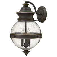 Hinkley 2345OZ Saybrook 3 Light 18 inch Oil Rubbed Bronze Outdoor Wall Mount, Clear Seedy Glass