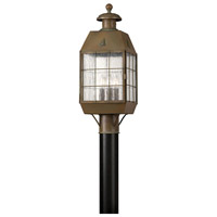 Nantucket 3 Light 21 inch Aged Brass Outdoor Post Mount, Post Sold Separately